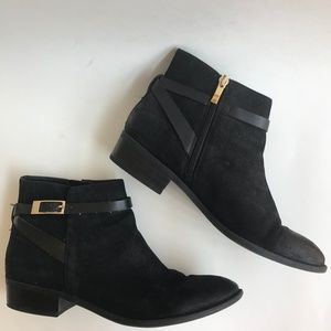 Franco Sorto Women Booties Black Shandy Gold 8.5